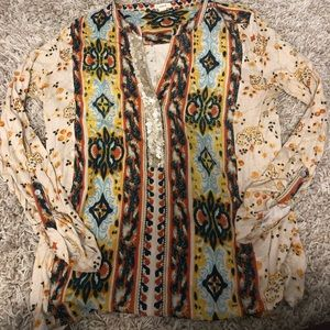 Anthropologie Tiny Patterned Sequined Top